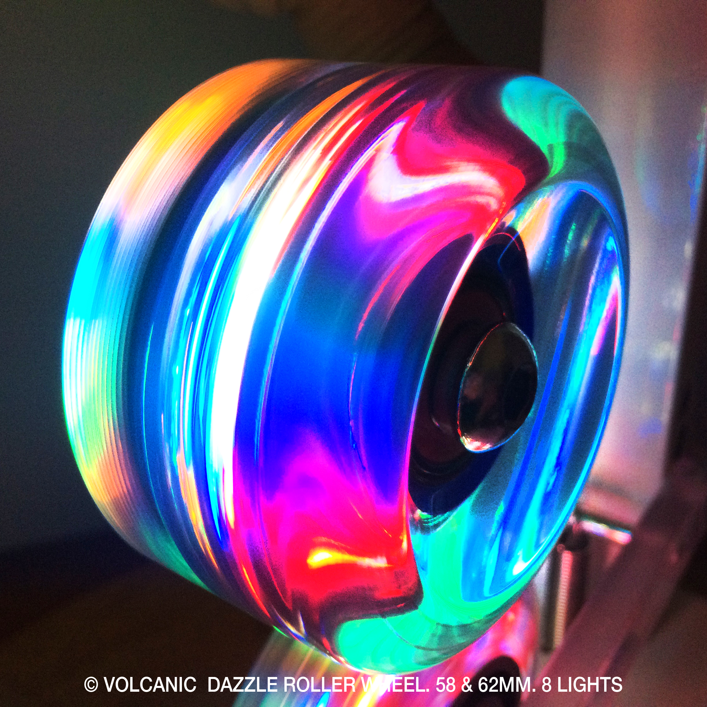Volcanic Self Lightup Skate Wheels, Quad roller indoor